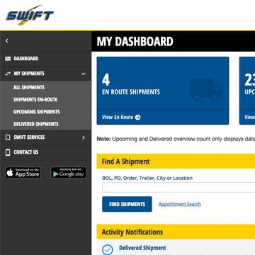 Swift Freight Tracker